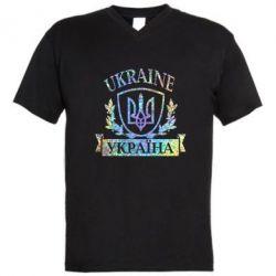 Мужская футболка  с V-образным вырезом Украина ненька Голограмма