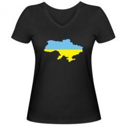 Женская футболка с V-образным вырезом Украина - FatLine