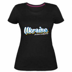 Женская стрейчевая футболка Ukraine  awesome country 2020