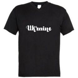 Чоловіча футболка з V-подібним вирізом Ukraine beautiful font