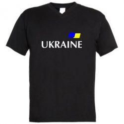 Мужская футболка  с V-образным вырезом UKRAINE FLAG - FatLine