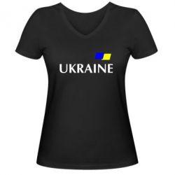 Женская футболка с V-образным вырезом UKRAINE FLAG - FatLine