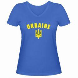 Женская футболка с V-образным вырезом Ukraine + герб - FatLine