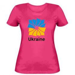 Женская футболка Ukraine квадратний прапор - FatLine