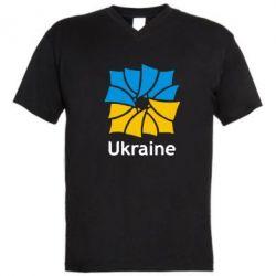 Мужская футболка  с V-образным вырезом Ukraine квадратний прапор