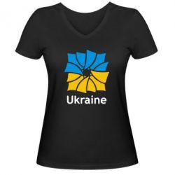 Женская футболка с V-образным вырезом Ukraine квадратний прапор - FatLine