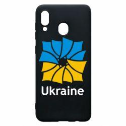 Чохол для Samsung A20 Ukraine квадратний прапор
