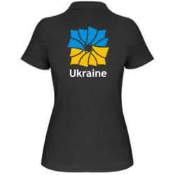Женская футболка поло Ukraine квадратний прапор - FatLine