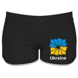 Женские шорты Ukraine квадратний прапор - FatLine