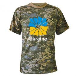 Камуфляжная футболка Ukraine квадратний прапор - FatLine