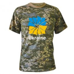 Камуфляжная футболка Ukraine квадратний прапор
