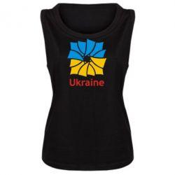Женская майка Ukraine квадратний прапор - FatLine