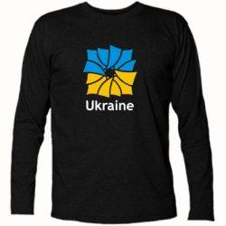 Футболка с длинным рукавом Ukraine квадратний прапор - FatLine