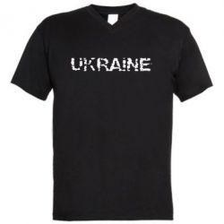 Мужская футболка  с V-образным вырезом Ukraine (потрісканий напис) - FatLine