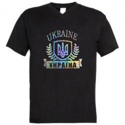 Мужская футболка  с V-образным вырезом Ukraine Украина Голограмма