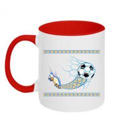 Кружка двухцветная Ukrainian football
