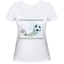 Женская футболка с V-образным вырезом Ukrainian football