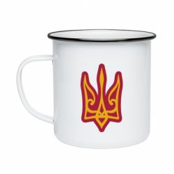 Кружка емальована Ukrainian trident with contour