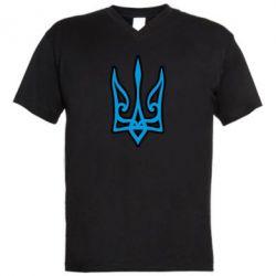 Чоловіча футболка з V-подібним вирізом Ukrainian trident with contour