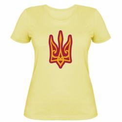 Жіноча футболка Ukrainian trident with contour