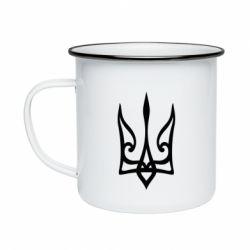 Кружка емальована Ukrainian trident