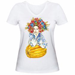 Жіноча футболка з V-подібним вирізом Українка в вінку і вишиванці