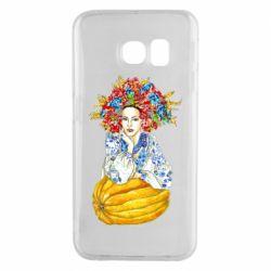 Чохол для Samsung S6 EDGE Українка в вінку і вишиванці