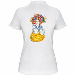 Жіноча футболка поло Українка в вінку і вишиванці