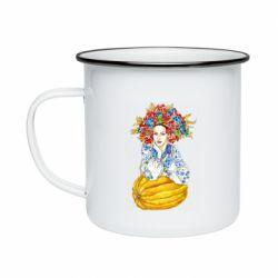 Кружка емальована Українка в вінку і вишиванці
