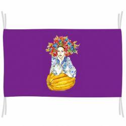 Прапор Українка в вінку і вишиванці