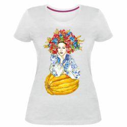 Жіноча стрейчева футболка Українка в вінку і вишиванці