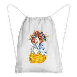 Рюкзак-мішок Українка в вінку і вишиванці