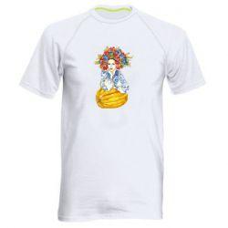Чоловіча спортивна футболка Українка в вінку і вишиванці
