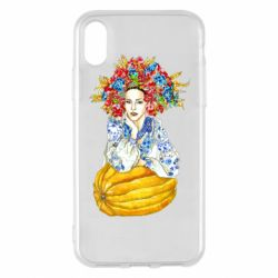 Чохол для iPhone X/Xs Українка в вінку і вишиванці
