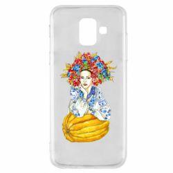 Купить OriAkuma, Чехол для Samsung A6 2018 Украинка в венке и вышиванке, FatLine