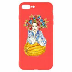 Чохол для iPhone 8 Plus Українка в вінку і вишиванці