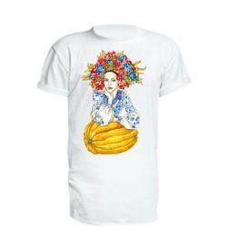 Подовжена футболка Українка в вінку і вишиванці
