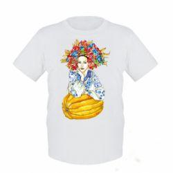 Дитяча футболка Українка в вінку і вишиванці