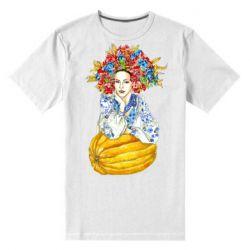 Чоловіча стрейчева футболка Українка в вінку і вишиванці
