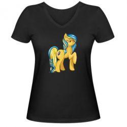 """Женская футболка с V-образным вырезом """"Українська конячка"""" - FatLine"""