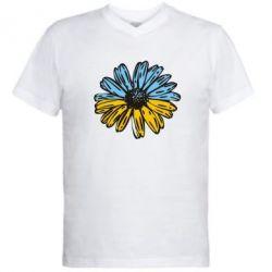 Мужская футболка  с V-образным вырезом Українська квітка - FatLine