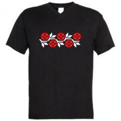 Мужская футболка  с V-образным вырезом Українська вишивка - FatLine