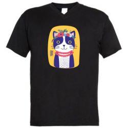 Чоловіча футболка з V-подібним вирізом Українська киця