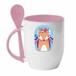 Кружка з керамічною ложкою Українська лисиця