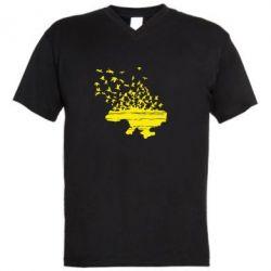 Мужская футболка  с V-образным вырезом Українські птахи - FatLine