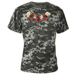 Камуфляжная футболка Украинские цветы - FatLine