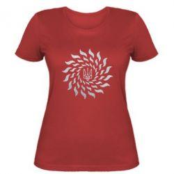 Женская футболка Украинский герб-солнце Голограмма