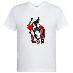 Мужская футболка  с V-образным вырезом Українській кінь - FatLine