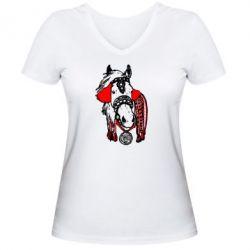 Женская футболка с V-образным вырезом Українській кінь - FatLine