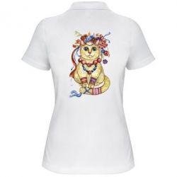 Женская футболка поло Украинский кот